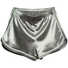 Gray Holographic Contrast Trims Sports Shorts ($25) ❤ liked on Polyvore featuring activewear, activewear shorts, shorts, bottoms and sports activewear