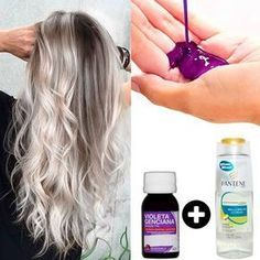 Que tal aprender a fazer seu próprio shampoo desamarelador? Long Silver Hair, Silver Blonde Hair, Purple Hair, Ombre Hair, Balayage Hair, Purple Pixie, Beauty Hacks, Hair Beauty, Makeup