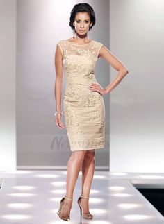 Sheath/Column Scoop Neck Knee-Length Ruffle Lace Zipper Up Cap Straps Sleeveless 2015 Champagne Spring Summer Fall General Mother of the Bride Dress