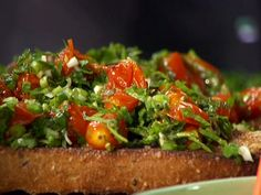 Tim made this the other night.  Best bruschetta ever!  Roasted Tomato Bruschetta from FoodNetwork.com