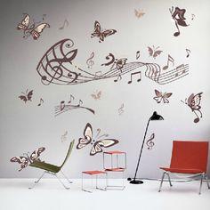 A la moda Sticker Wall Art elegante de dibujos animados nota de la música de la mariposa desprendible DIY arte del vinilo para la decoración del hogar decoración de la pared(China (Mainland))