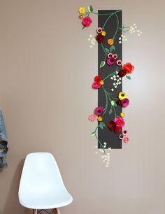tapisserie en relief, fleurs en papier, DIY décoration murale (Pour donner du relief au sakura de la chambre)