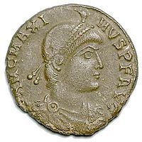 Magnus Maximus (Latin: Flavius Magnus Maximus Augustus, Welsh: Macsen Wledig) (ca. 335 – August 28, 388) was Western Roman Emperor from 383 to 388. In 383 as commander of Britain, he usurped the throne against emperor Gratian; and through negotiation with emperor Theodosius I the following year he was made emperor in Britannia and Gaul – while Gratian's brother Valentinian II retained Italy, Pannonia, Hispania, and Africa.