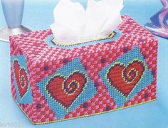 Heart Swirls Tissue Box Cover Pattern Only Plastic Canvas Pattern | eBay