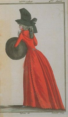 Magasin des Modes, December 1789. Wow! What a color! And that black hat just sets it off gloriously!