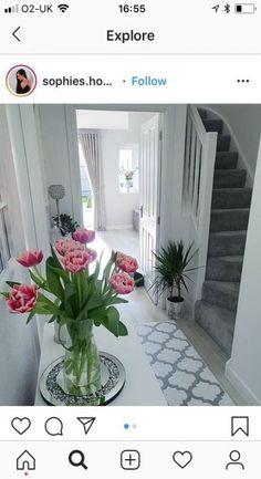 Decor Hallway Shoe Cabinet 37 Ideas For 2019 - Grey hallway ideas - Hallway Inspiration, Home Decor Inspiration, Style At Home, Narrow Hallway Decorating, Grey Hallway, Flur Design, Small Hallways, Ideas For Hallways, Hallway Flooring