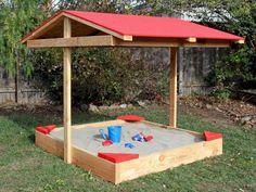 24 Small Backyard Playground Landscaping Ideas on a Budget - Decoradeas Backyard Playground Sets, Backyard Toys, Backyard Playhouse, Build A Playhouse, Backyard For Kids, Backyard Projects, Backyard Ideas, Build A Sandbox, Kids Sandbox