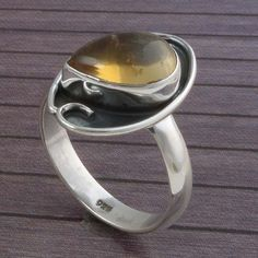 CITRINE CAB 925 SOLID STERLING SILVER DESIGNER FANCY JEWELLERY 4.20g DJR3437 #Handmade #Ring