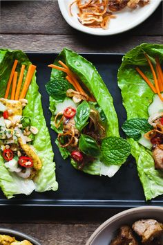 Sweet & spicy ginger lemongrass pork lettuce wraps topped with crispy fried shallots & a drizzle of Vietnamese nuoc cham sauce. Plus a lettuce wrap collab!