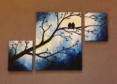 Love bird painting diy 47 New Ideas Three Canvas Painting, 3 Canvas Paintings, Multiple Canvas Paintings, Bird Painting Acrylic, Love Birds Painting, Simple Acrylic Paintings, Diy Canvas Art, Diy Painting, Acrylic Canvas