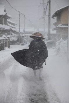 Japanese zen monk in the snow