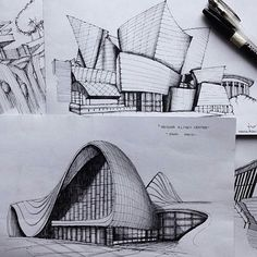 Home Decorating Online Games Architecture Drawing Sketchbooks, Architecture Concept Drawings, Colour Architecture, Museum Architecture, Architecture Portfolio, Building Sketch, Perspective Art, Sketches, Frank Gehry