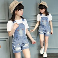 23.49$  Buy here - Girls Cartoon T-Shirt + Denim Romper 2Pcs Summer Girl Clothing Sets Cotton Children Clothing Baby Clothes For Girls Clothes  #aliexpresschina