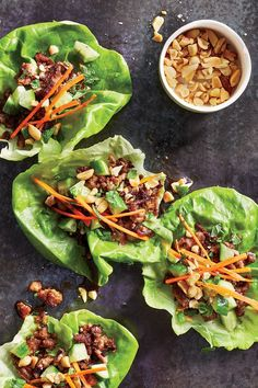 Crisp, delicate butter lettuce leaves have a cup shape that's perfect for holding the sweet-and-savory ground turkey mixture and crunchy,. Lettuce Wrap Recipes, Lunch Recipes, Healthy Recipes, Cooking Light Recipes, Slow Cooker Recipes, Lunch Ideas, Dinner Ideas, Colorful Vegetables, Light Diet