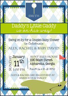 Golf Baby Shower Invitation - Golf Baby Sprinkle Invitation - Daddy's Little Caddy - Golf Theme - Customize - Printable - 5x7 - Baby Boy
