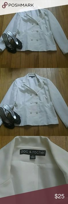 Zac&Rachel  Blazer Double breasted  ivory blazer in excellent  condition from smoke free home.  73% polyester  23% rayon, 4% spandex. Fully lined Jackets & Coats Blazers