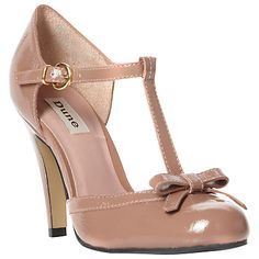 Dune Candstorm Patent T-Bar Bow Trim Open Court Shoes, Taupe
