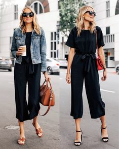 Casual Summer Office Outfits to Show Your Style at Work - Outfit & Fashion Mode Outfits, Casual Outfits, Fashion Outfits, Black Outfits, Black Slacks Outfit, Sweater Outfits, Fashion Fashion, Classic Fashion, Gaucho Pants Outfit