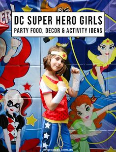 The best DC superhero girls party mypoppet.com.au Superhero Party Games, Girl Superhero Party, Wonder Woman Birthday, Wonder Woman Party, Girl Party Foods, Girls Party Decorations, Party Fun, Party Ideas, Food Decorating