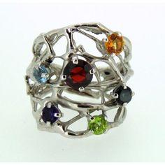 Anello Linea Magma in argento 925 con pietre naturali multicolor