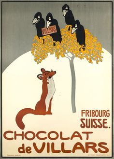 1905 Chocolat de Villars, Fribourg, Swiss vintage advert poster/fox, blackbirds-crows