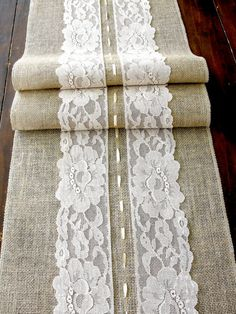 Burlap table runner with cream lace wedding table runner rustic romantic wedding, handmade in the USA on Etsy, £14.39