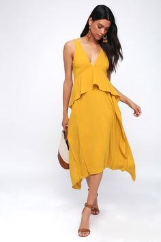 05464f981a Bea Mustard Yellow Ruffled Midi Dress Trendy Dresses