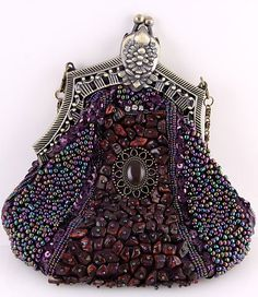 Vintage Victorian Rich Purple Beaded Evening Purse Bag | eBay
