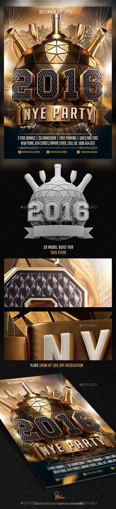 2016 New Years Eve NYE Flyer Template PSD #design Download: http://graphicriver.net/item/2016-new-years-eve-nye-flyer-template/13843885?ref=ksioks