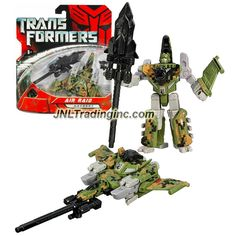 Hasbro Year 2007 Transformers Movies Series 1 Scout Class 4 Inch Tall Robot Action Figure - Autobot AIR RAID with Spear and Black Energon Star (Vehicle Mode: Fighter Jet)