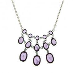 Bejeweled Lavender Bib Necklace #1928Jewelry