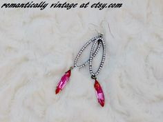 Pink Dangle Earrings Vintage For Women Boho by RomanticallyVintage