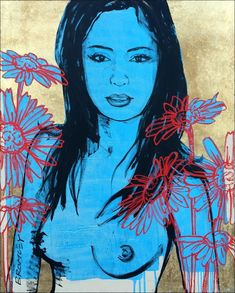 """DAVID BROMLEY Nude """"Mallory"""" Polymer & Gold Leaf on Canvas 150cm x 120cm"""