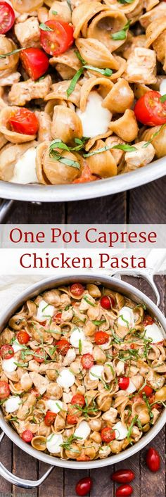 One Pot Caprese Chicken Pasta is perfect when you need a family-friendly dinner fast! Everything you love about a caprese salad turned into a main dish meal with the addition of whole wheat pasta and chicken breasts!