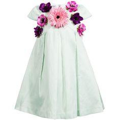 Graci Mint Green Taffeta Dress with Satin Flowers at Childrensalon.com