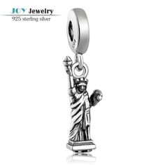 New Arrival 925 Sterling Silver Statue of Liberty Dangle Charm Pendants Fits European Bracelets Antique Silver Jewelry LW085