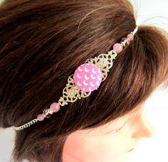 Head band bohème chic argenté et rose, bijou de tête, collier, cabochon en tissu et perles roses : Accessoires coiffure par color-life-bijoux