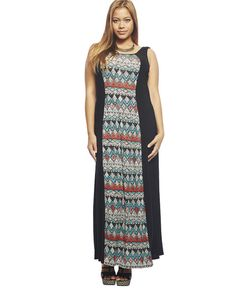 """<p>Long, soft and super comfortable as a go-to style, this tank maxi dress has a colorful tribal print vertical panel from the round neckline down the length of the maxi. Unlined.</p>  <p>Model is 5'9"""" and wears a 1X.</p>  <ul> <li>57"""" From shoulder to hem</li> <li>95% Polyester / 5% Spandex</li> <li>Machine Wash</li> <li>Imported</li> </ul>"""