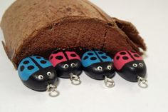LadyBug Charms  Painted Polymer Clay  Four Cute by ClayTree