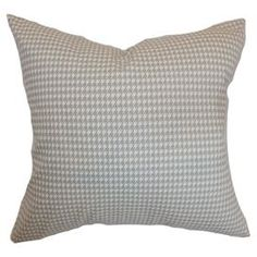 """Cotton pillow with a houndstooth motif. Made in the USA.  Product: PillowConstruction Material: CottonColor: GrayFeatures: Insert includedDimensions: 18"""" x 18"""""""