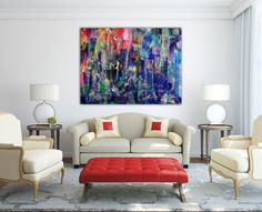 All of my paintings start with big bold strokes of many colors. Love creating those first layers building up into a complex combination of organic shapes, colors and patters. This piece was made us...