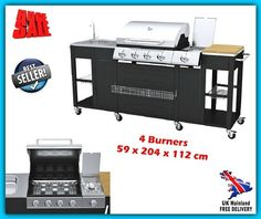 Large Kitchen Barbecue 4 Burner Patio Outback Gas BBQ NEW Grill Propane Butane