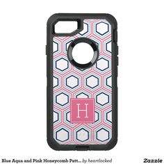 Blue Aqua and Pink Honeycomb Pattern Monogrammed OtterBox Defender iPhone 7 Case
