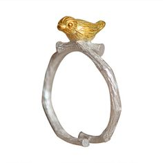 Gold Bird On Silver Ring
