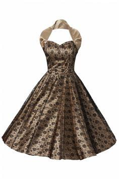 Vivien of Holloway 1950s Retro halter luxury Champagne Satin Lace swing dress