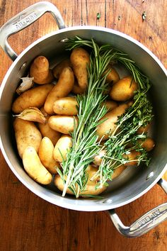 Fingerling Potatoes with Rosemary and Thyme, Crispy or Not- these remind me of some absolutely delicious potatoes that I had at a Tom Douglas restaurant.