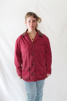 90s Red TIMBERLAND Three Season Field Jacket with Leather Collar // Mac Demarco Shia Labeouf // Pacific Northwest Twin Peaks Soft Grunge by VegaGenesisVintage on Etsy
