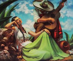 """Mexican art: """"Poco A Poquito"""" by Mexican artist Jesus Helguera,1939"""