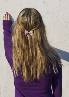 hair with bow Purple Dress, Hair Bows, My Hair, Cool Hairstyles, Hair Beauty, Long Hair Styles, Dresses, Ribbon Hair Ties, Vestidos