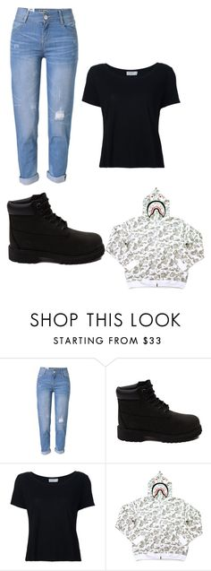 """""""12!26!16"""" by sneakerfeign14 ❤ liked on Polyvore featuring WithChic, Timberland, Frame and A BATHING APE"""
